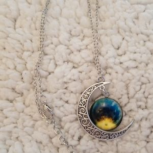 Moon And Galaxy Pendant Necklace